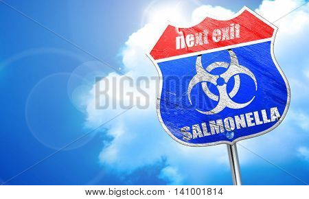Salmonella concept background, 3D rendering, blue street sign