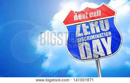 zero discrimination day, 3D rendering, blue street sign