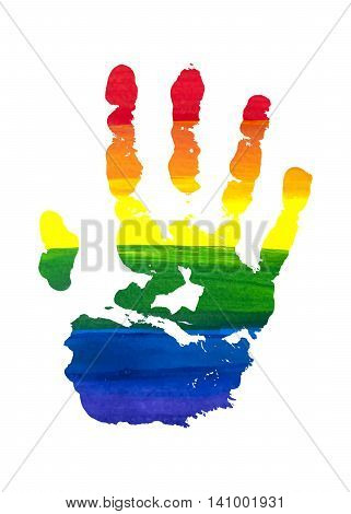 Human grunge rainbow gouache handprint with skin texture isolated on white background. LGBT watercolor sticker. The right palm. Vector illustration.