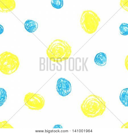 Cute seamless grunge childish pattern of the crayon yellow and blue stains on white background.