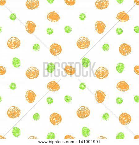Cute seamless grunge childish pattern of the crayon orange and green stains on white background.