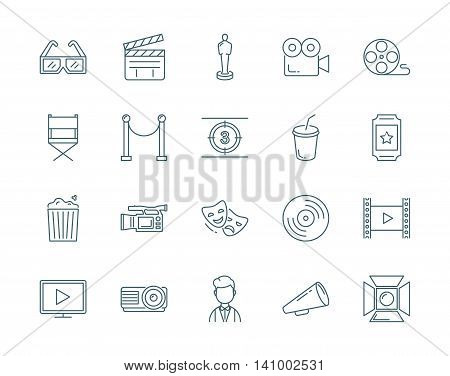 Cinema vector icons set modern line style