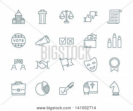 Politics and election vector icons set modern line style