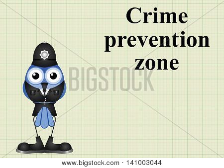 Crime prevention zone UK with policeman on graph paper background with copy space for own text