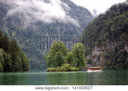Bavarian boat tours on Konigsee lake, Berchtesgaden National Park, Bavaria, Germany