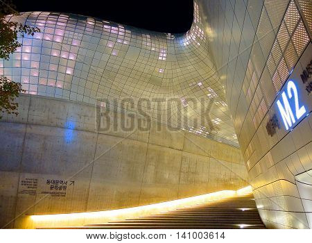 Seoul South Korea -October 27 2015 : Dongdaemun Design Plaza is a modern architecture in Seoul designed by Zaha Hadid