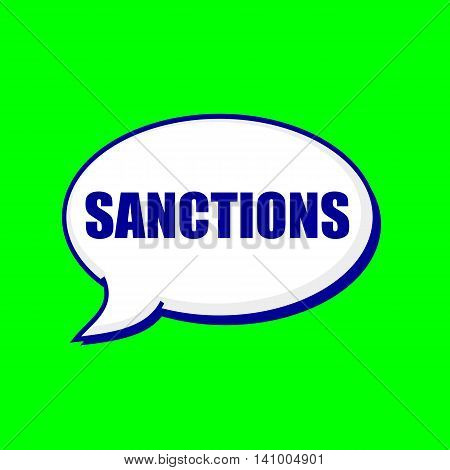 SANCTIONS blue wording on Speech bubbles Background Green