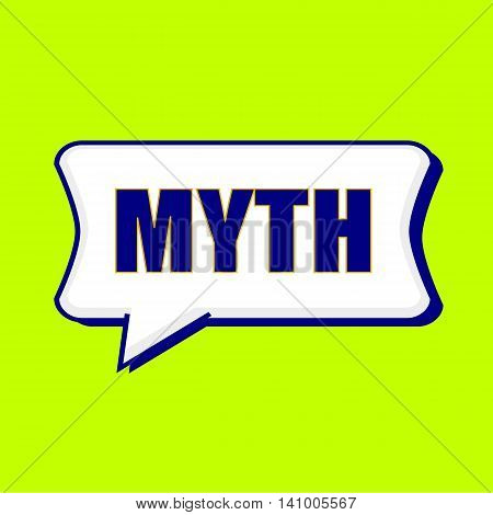 MYTH blue wording on Speech bubbles Background Yellow lemon