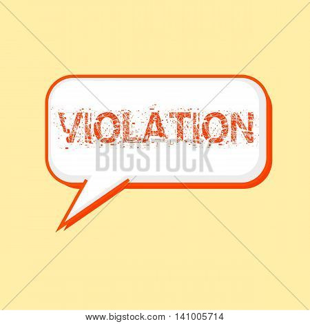 VIOLATION Orange wording on Speech bubbles Background Yellow-White