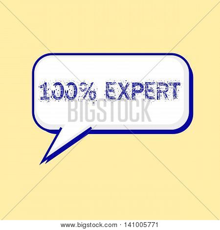 one hundred percent expert blue wording on Speech bubbles Background Yellow-White