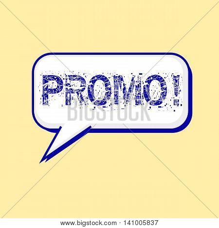promo blue wording on Speech bubbles Background Yellow-White