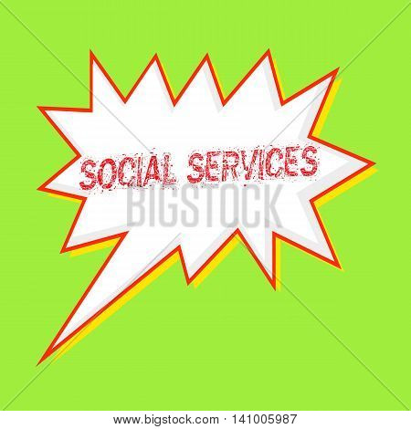 SOCIAL SERVICES red wording on Speech bubbles Background Green-yellow