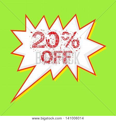 20% OFF red wording on Speech bubbles Background Green-yellow