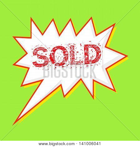 Sold red wording on Speech bubbles Background Green-yellow