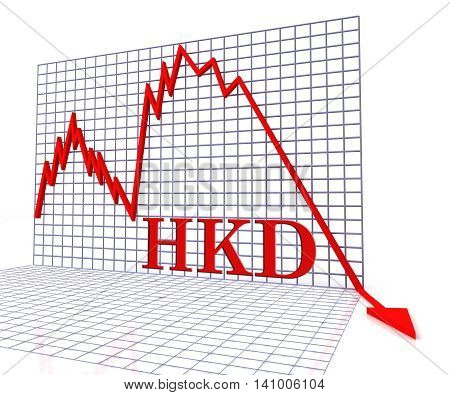 Hkd Graph Negative Means Hong Kong Dollar And Coinage 3D Rendering