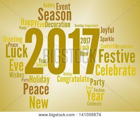 Twenty Seventeen Represents Happy New Year And Annual