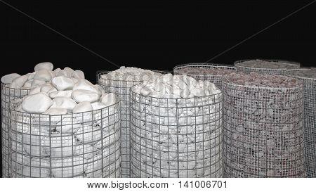 Pebbles and Stones Decorative Material in Bulk Storage