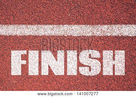 Finish line on asphalt. Business background. Business concept