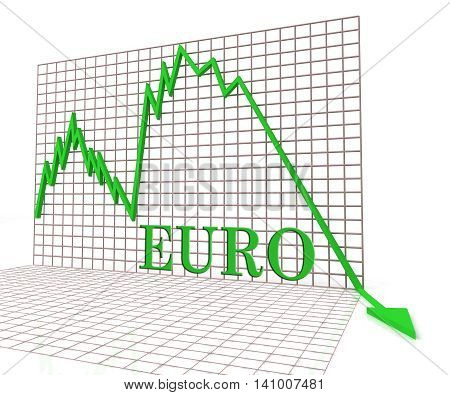 Euro Graph Negative Indicates Exchange Rate And Charts 3D Rendering