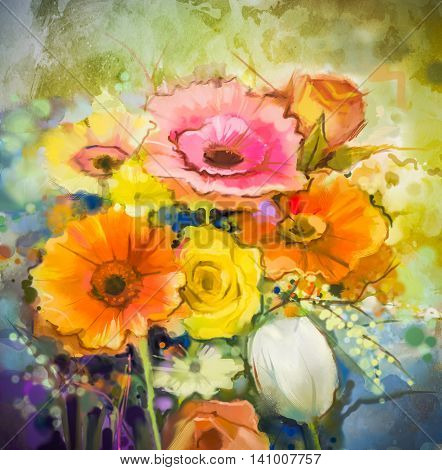 Watercolor painting flowers. Hand paint still life bouquet of yellow, orange, white, gerbera, rose, tulip flowers on grunge textures background. Vintage painting style. Spring flower nature background