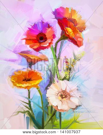 Abstract oil painting of spring flowers. Still life of yellow and red gerbera flower. Colorful Bouquet flowers with light purple blue color background. Hand Painted floral modern Impressionist style