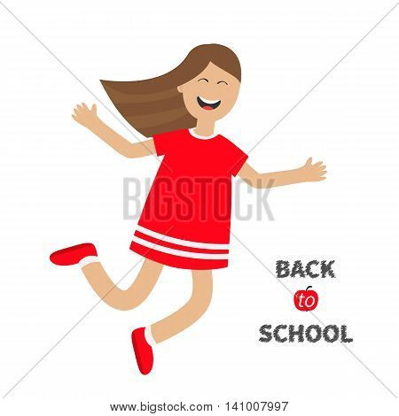 Girl jumping Happy child jump. Cute cartoon laughing character in red dress. Back to school Chalk text. White background. Isolated. Flat design. Vector illustration