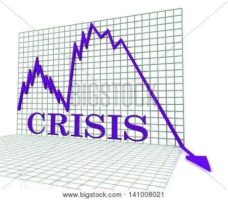 Crisis Graph Represents Hard Times And Calamity 3D Rendering