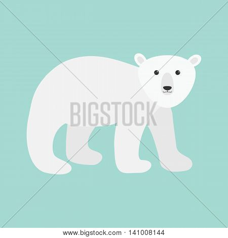 Arctic polar bear cub. Cute cartoon baby character. Flat design. Blue background. Isolated. Vector illustration