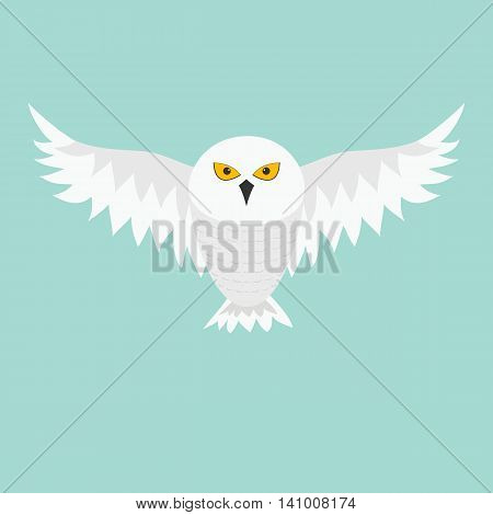 Snowy white owl. Flying bird with big wings. Yellow eyes. Arctic Polar animal collection. Baby education. Flat design. Isolated. Blue sky background. Vector illustration