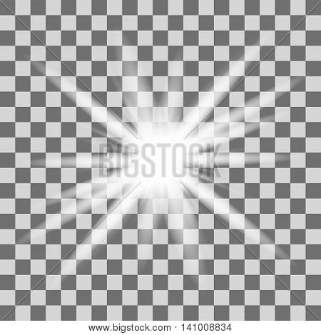 Glow light effect. Star burst with sparkles. Vector illustration. Vector glowing light bursts with sparkles on transparent background. White glowing light burst explosion with transparent.
