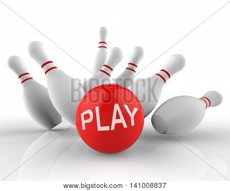 Play Bowling Indicates Free Time And Activity 3D Rendering