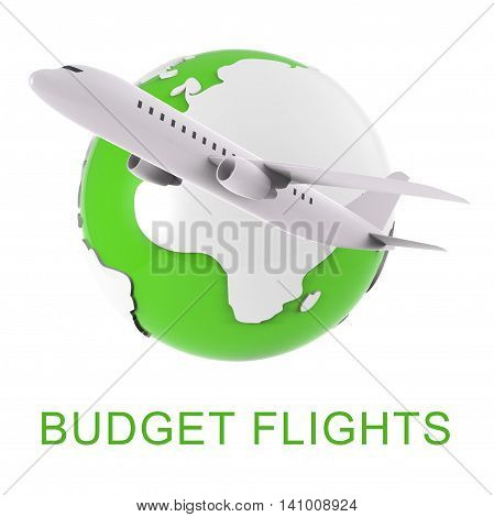 Budget Flights Means Special Offer And Aeroplane 3D Rendering