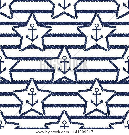 Set of sea and nautical seamless patterns. Vector illustration nautical pattern abstract textile sailor summer anchor symbols. Travel nautical seamless pattern geometric style ornament.