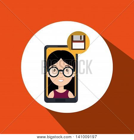 smartphone person tecnology floopy vector illustration graphic