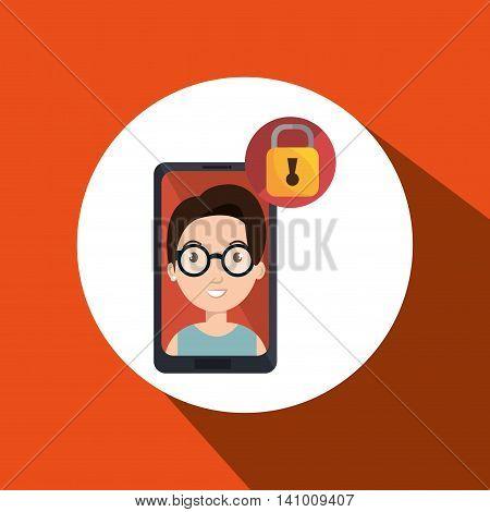 smartphone person tecnology usb vector illustration graphic