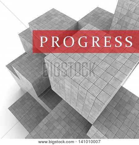 Progress Blocks Indicates Advancement Progression And Headway 3D Rendering