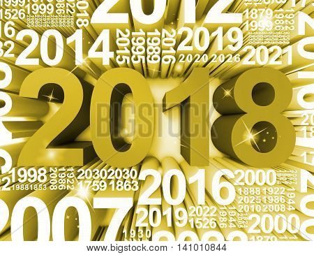 Twenty Eighteen Represents New Year And Celebrates 3D Rendering