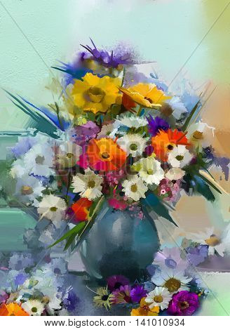 Oil painting flowers in vase. Hand paint still life bouquet of White, Yellow and Orange Sunflower, Gerbera, Daisy flowers. Vintage flowers painting in soft green and blue color background.