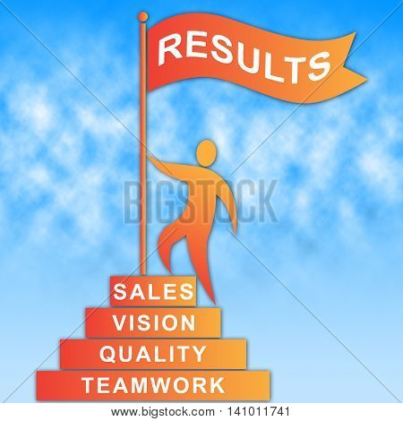 Results Flag Shows Goal Progress And Achievement