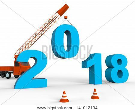 Twenty Eighteen Indicates Happy New Year And Annual 3D Rendering