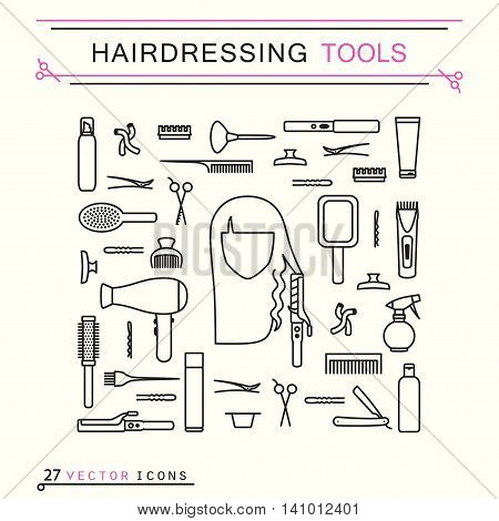 Hairdressing tools. Line Art Icons Set. EPS 8