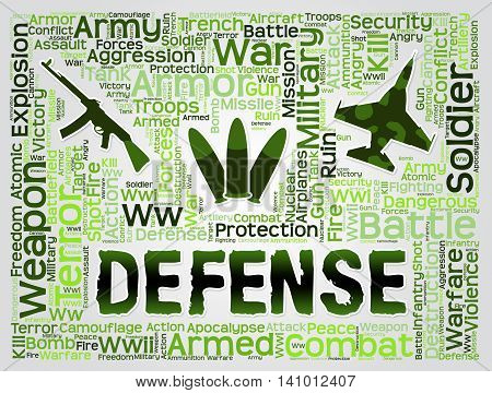 Defense Words Shows Defend Security And Resist