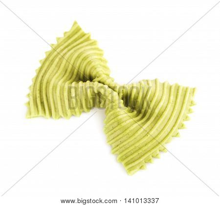raw green bow-knot pasta, isolated on white background