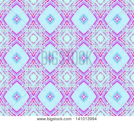 Abstract geometric seamless retro background. Ornate diamond pattern in light blue and purple shades with orange and magenta elements.