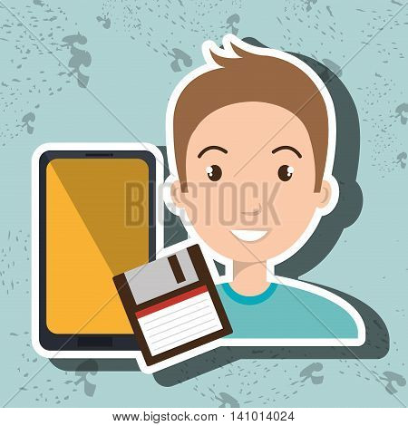 person retro technology system vector illustration graphic