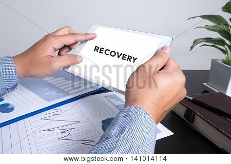 Man Using Tablet Show Word Recovery