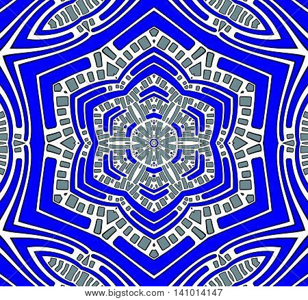 Abstract geometric seamless background. Conspicuous centered ornament in dark blue with white and silver gray elements, hexagon pattern.