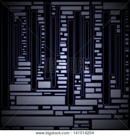 Abstract geometric dark background. Irregular rectangles pattern silver gray with blue outlines on black, shimmering and mysterious.