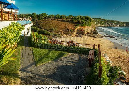 Sandy coast of the beach of Dreamland. Bali, Indonesia.