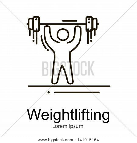 Weightlifting icon, sportsman with barbell strong athlete vector illustration